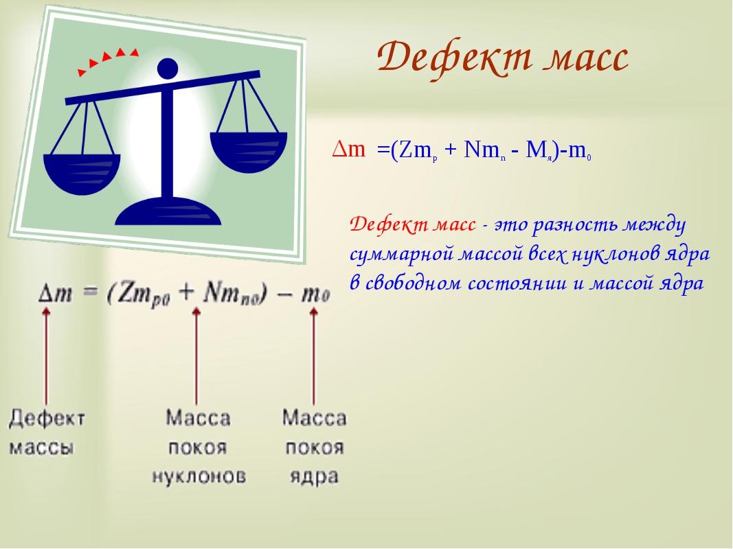 Дефект масс Дефект масс - это разность между суммарной массой всех нуклонов я...