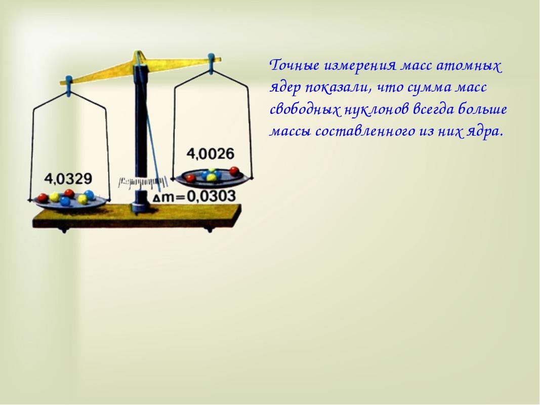 Точные измерения масс атомных ядер показали, что сумма масс свободных нуклоно...