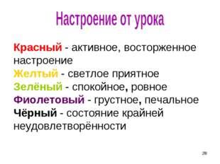 * Красный - активное, восторженное настроение Желтый - светлое приятное Зелён