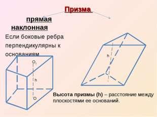 Призма прямая наклонная Если боковые ребра перпендикулярны к основаниям О1 О