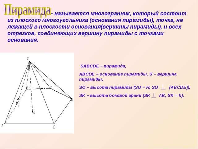– называется многогранник, который состоит из плоского многоугольника (основ...