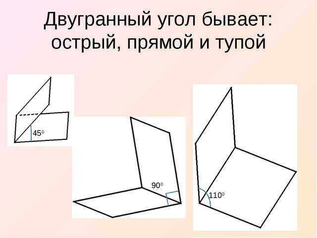 Двугранный угол бывает: острый, прямой и тупой 450 900 1100
