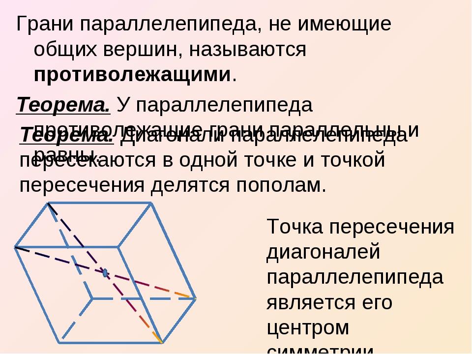 Грани параллелепипеда, не имеющие общих вершин, называются противолежащими. Т...