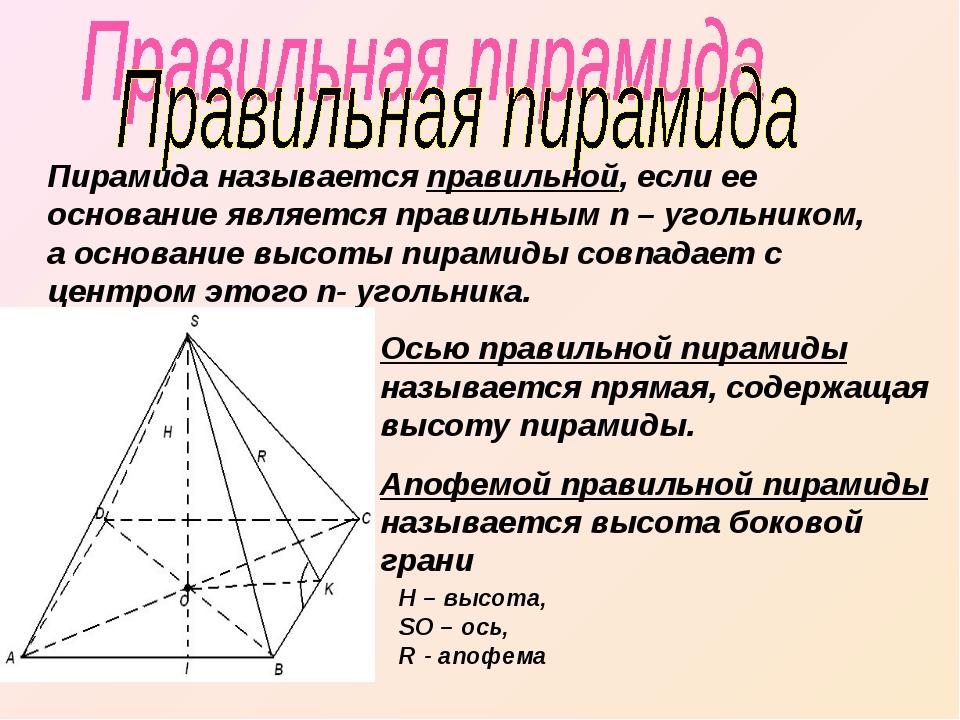 Пирамида называется правильной, если ее основание является правильным n – уго...