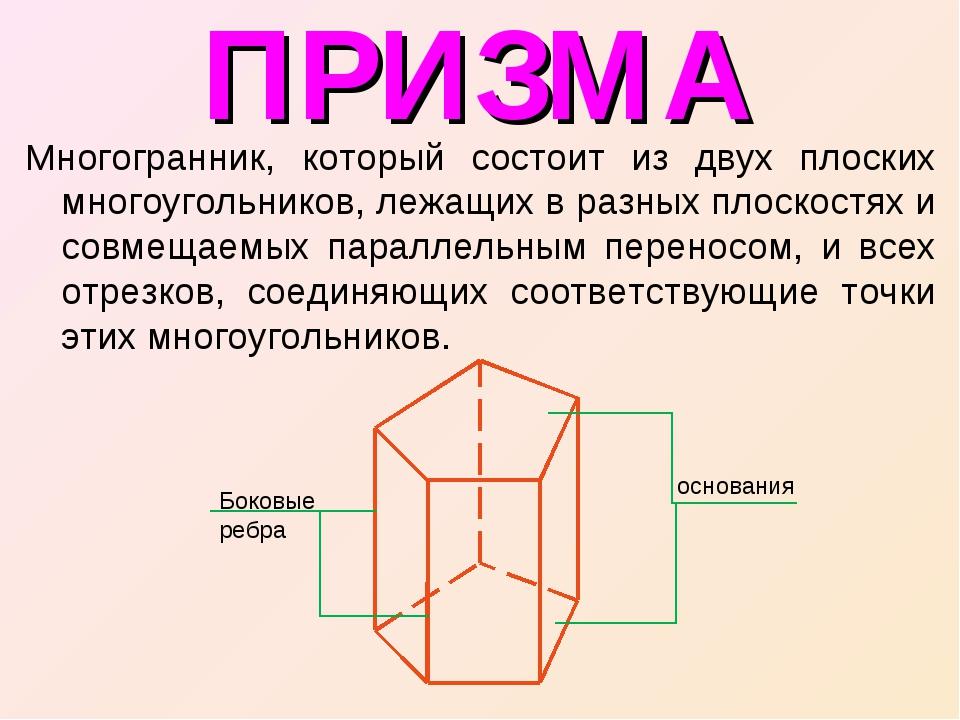 ПРИЗМА Многогранник, который состоит из двух плоских многоугольников, лежащих...