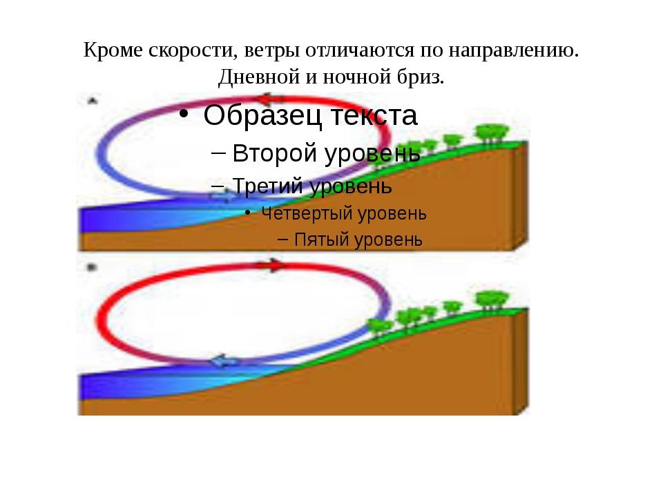 Кроме скорости, ветры отличаются по направлению. Дневной и ночной бриз.