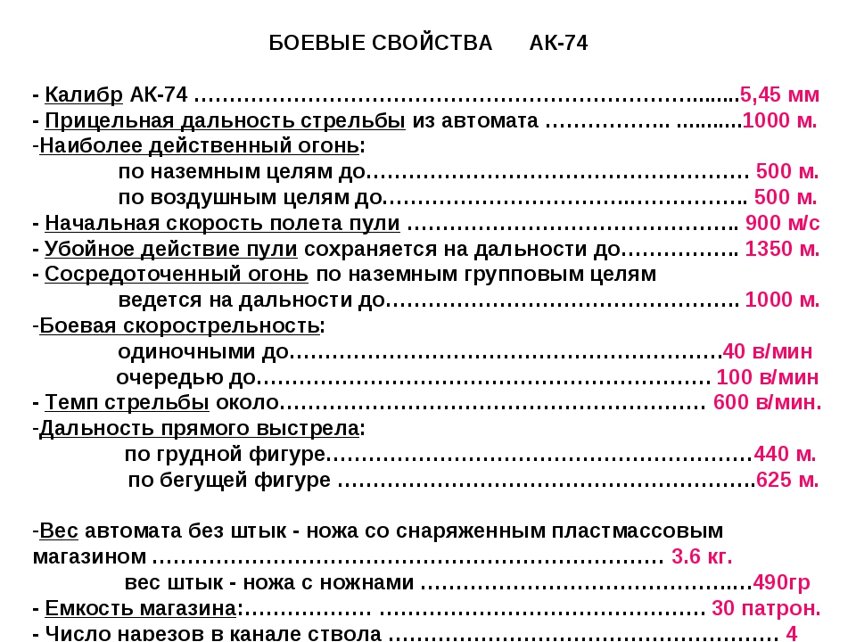 БОЕВЫЕ СВОЙСТВА АК-74 - Калибр АК-74 …………………………………………………………….........5,45 мм...