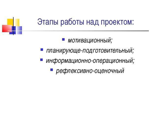 Этапы работы над проектом: мотивационный; планирующе-подготовительный; информ...