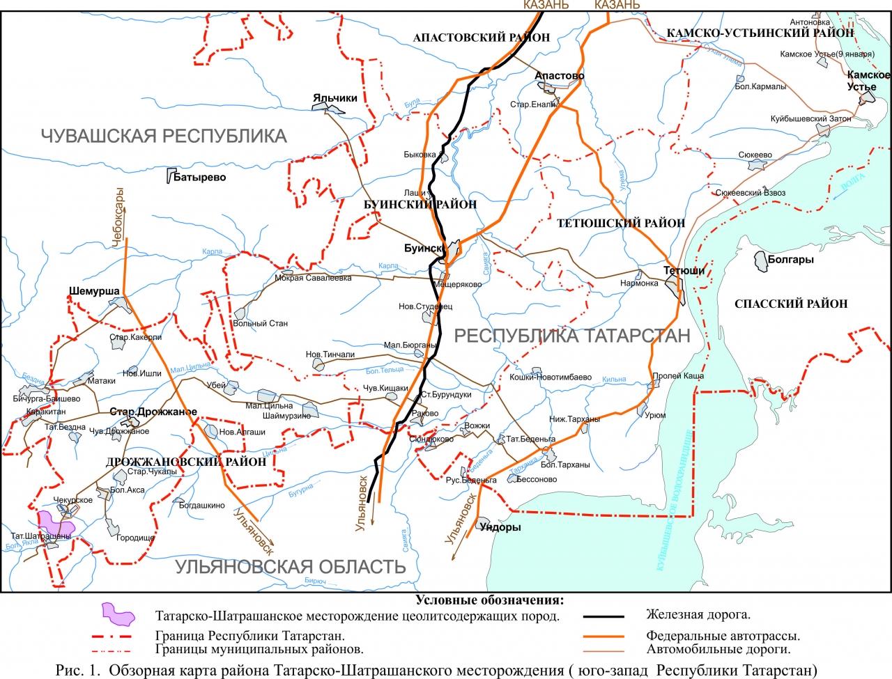 Обзорная карта района Татарско-Шатрашанского месторождения