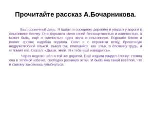 Прочитайте рассказ А.Бочарникова. Был солнечный день. Я шагал в соседнюю дере