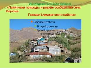 Исследовательская работа: «Памятники природы и редкие сообщества села Верхне