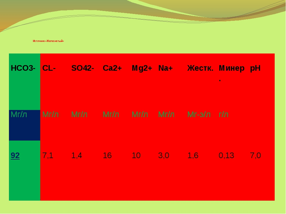 Источник «Железистый» HCO3- CL-  SO42- Ca2+ Mg2+ Na+ Жестк. Минер. pH Мг/л...