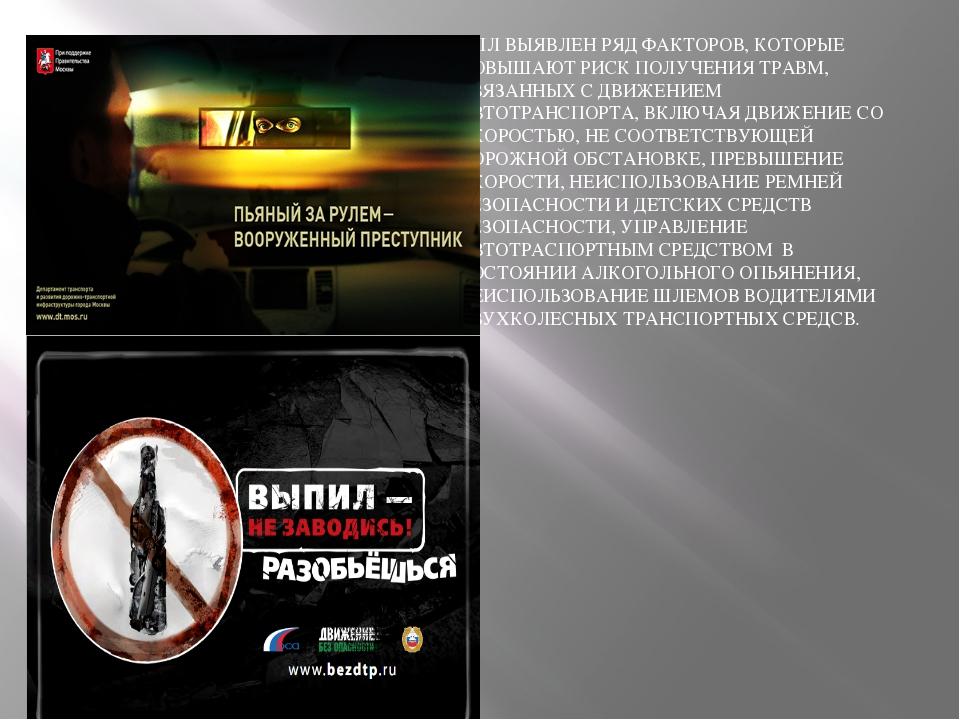 БЫЛ ВЫЯВЛЕН РЯД ФАКТОРОВ, КОТОРЫЕ ПОВЫШАЮТ РИСК ПОЛУЧЕНИЯ ТРАВМ, СВЯЗАННЫХ С...