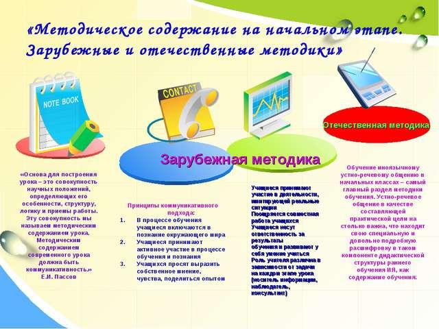 «Методическое содержание на начальном этапе. Зарубежные и отечественные метод...