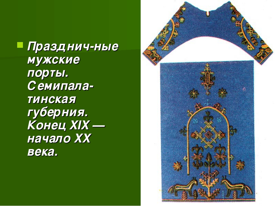 Празднич-ные мужские порты. Семипала-тинская губерния. Конец XIX — начало XX...