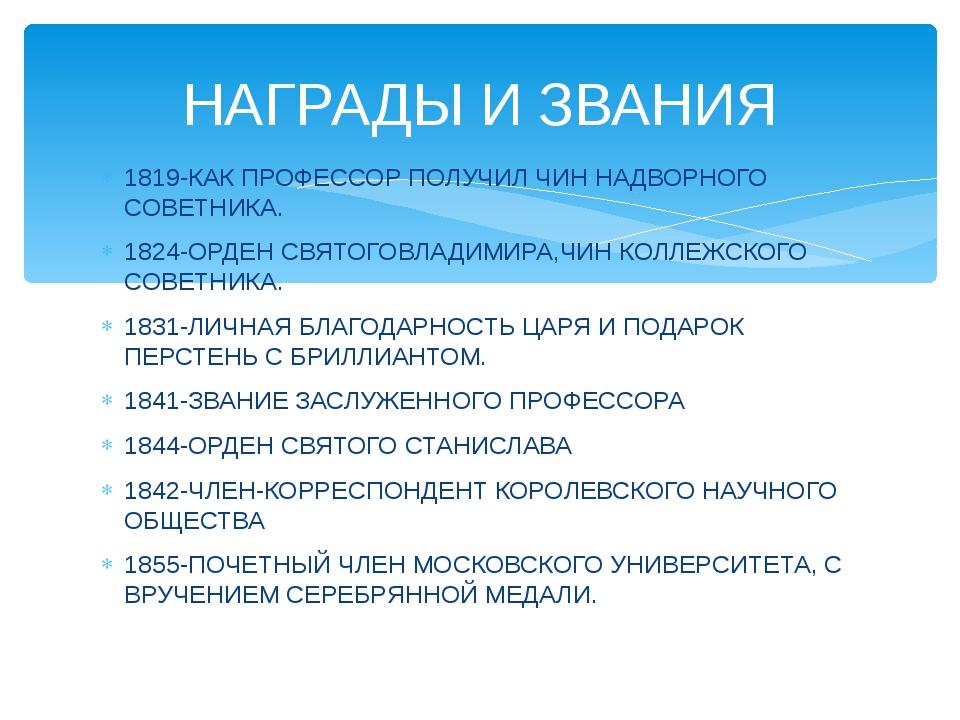 1819-КАК ПРОФЕССОР ПОЛУЧИЛ ЧИН НАДВОРНОГО СОВЕТНИКА. 1824-ОРДЕН СВЯТОГОВЛАДИМ...