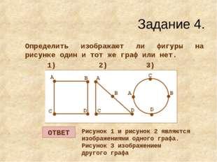 Задание 4. Определить изображают ли фигуры на рисунке один и тот же граф или