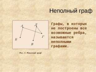 Неполный граф Графы, в которых не построены все возможные ребра, называются н