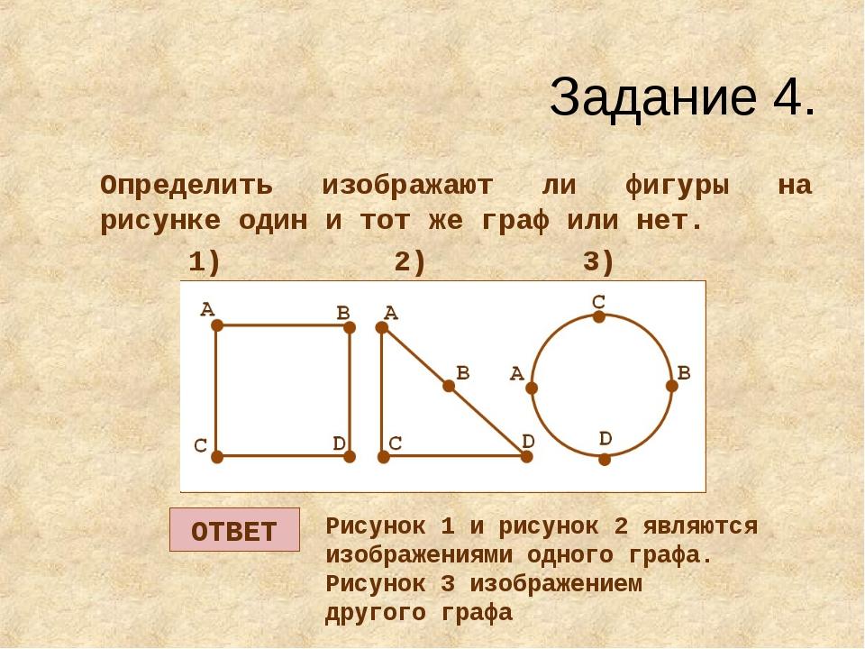 Задание 4. Определить изображают ли фигуры на рисунке один и тот же граф или...