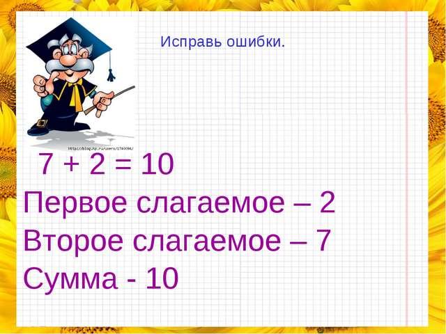 Исправь ошибки.  7 + 2 = 10 Первое слагаемое – 2 Второе слагаемое – 7 Сумма...