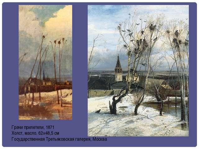 Грачи прилетели, 1871 Холст, масло. 62×48,5 см Государственная Третьяковская...