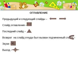 ОГЛАВЛЕНИЕ Предыдущий и следующий слайды – Слайд оглавления – Последний слайд