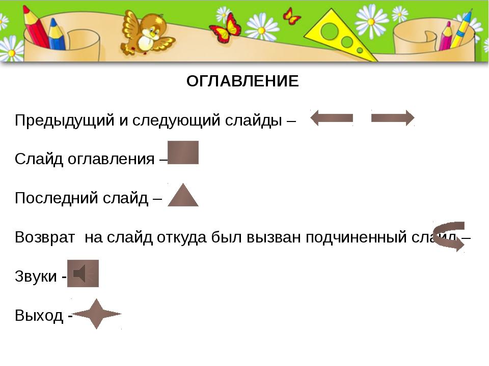 ОГЛАВЛЕНИЕ Предыдущий и следующий слайды – Слайд оглавления – Последний слайд...