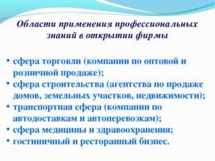 Области применения профессиональных знаний в открытии фирмы сфера торговли (