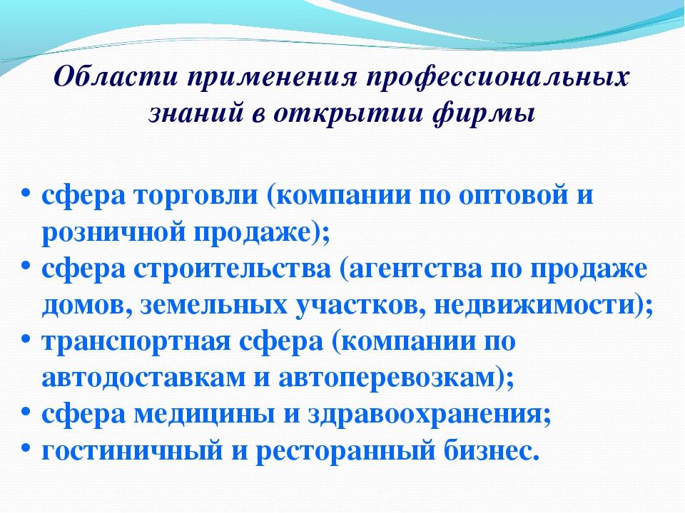 Области применения профессиональных знаний в открытии фирмы сфера торговли (...