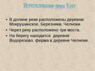 В долине реки расположены деревни: Мокрушинское, Березняки, Челноки. Через ре