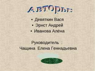 Девяткин Вася Эрнст Андрей Иванова Алёна Руководитель : Чащина Елена Геннадье