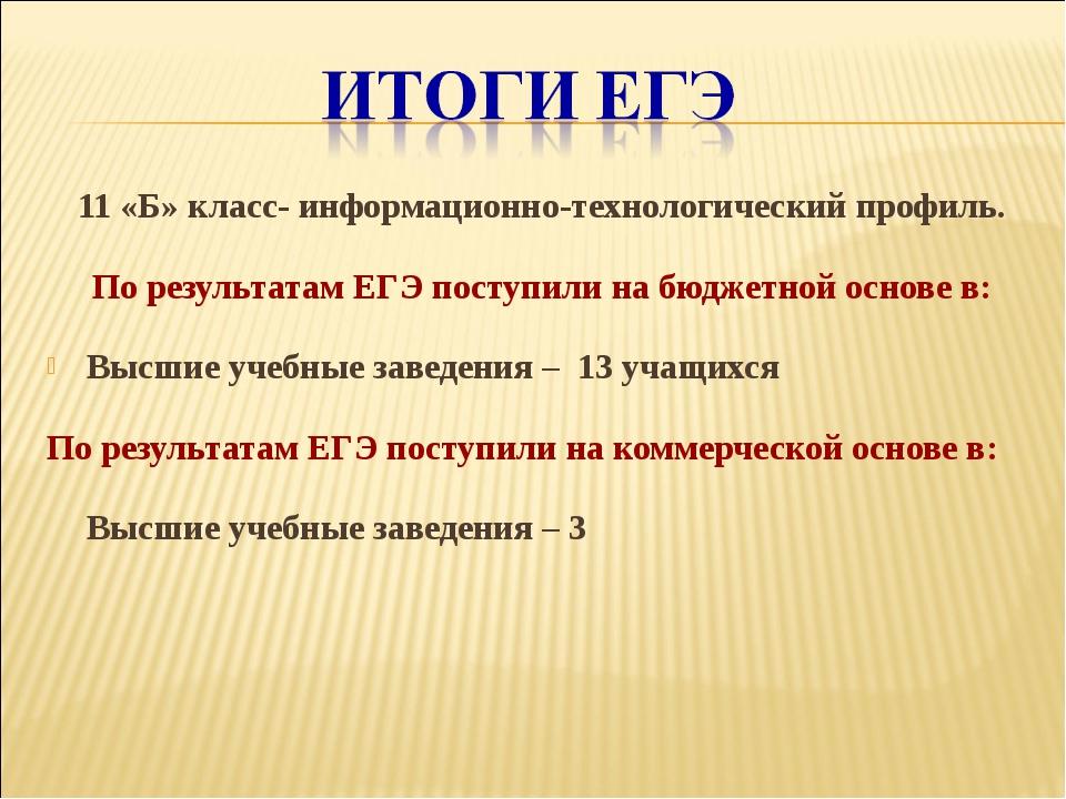 11 «Б» класс- информационно-технологический профиль. По результатам ЕГЭ посту...