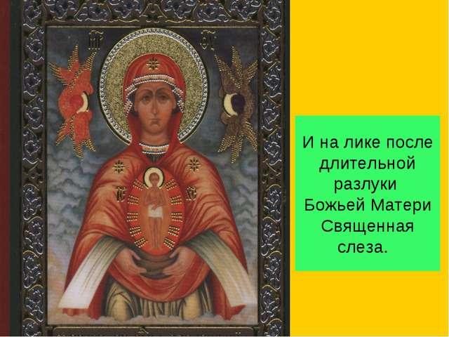И на лике после длительной разлуки Божьей Матери Священная слеза.