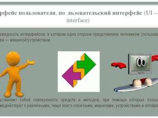 интерфейс пользователя, по́льзовательский интерфейс (UI—user interface) раз