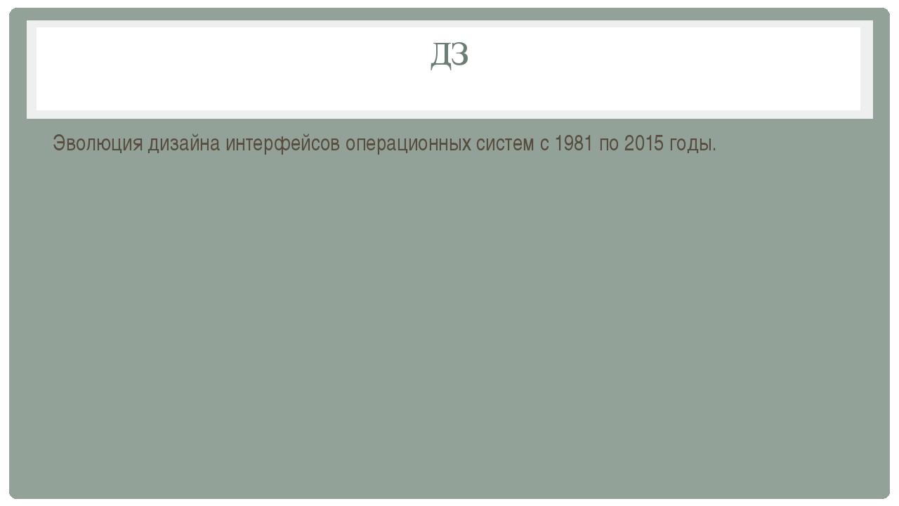 ДЗ Эволюция дизайна интерфейсов операционных систем с 1981 по 2015 годы.