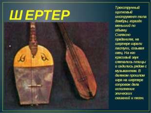 ШЕРТЕР Трехструнный щипковый инструмент типа домбры, гораздо меньший по объем