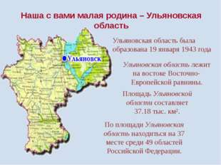 Ульяновская область лежит на востоке Восточно-Европейской равнины. Площадь Ул