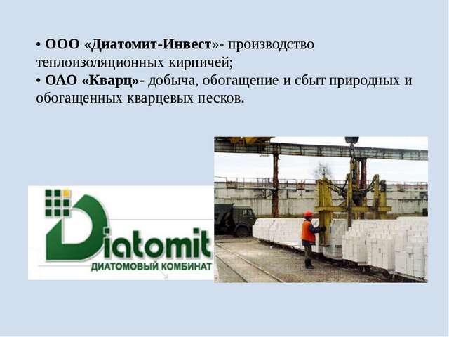 •ООО «Диатомит-Инвест»- производство теплоизоляционных кирпичей; •ОАО «Квар...