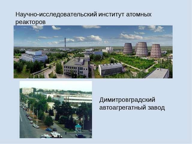 Научно-исследовательский институт атомных реакторов Димитровградский автоагре...