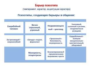Барьер психотипа (темперамент, характер, акцентуации характера) Психотипы, с