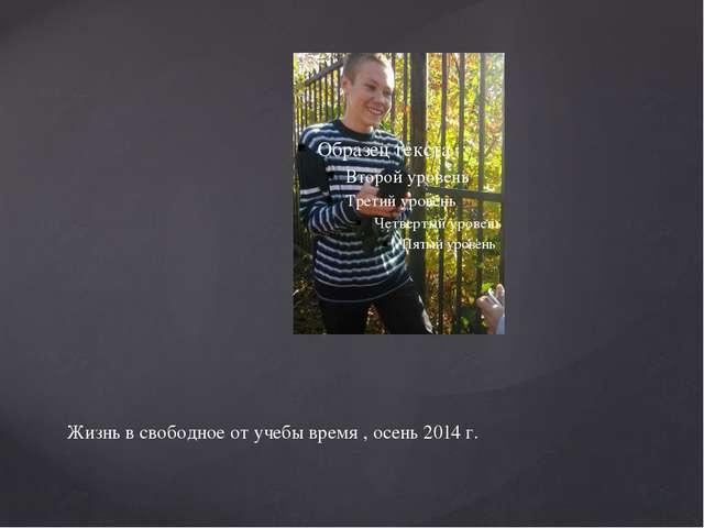 Жизнь в свободное от учебы время , осень 2014 г.