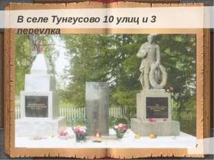 В селе Тунгусово 10 улиц и 3 переулка Текст слайда