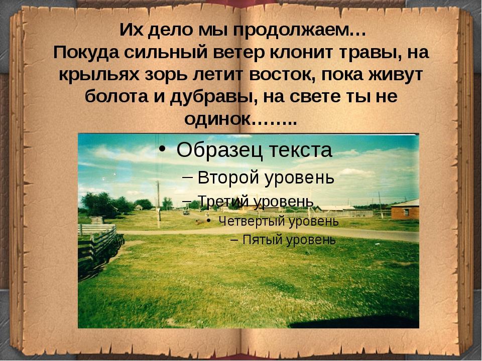 Их дело мы продолжаем… Покуда сильный ветер клонит травы, на крыльях зорь ле...