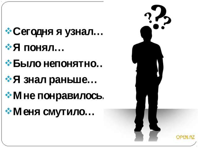 Сегодня я узнал… Я понял… Было непонятно… Я знал раньше… Мне понравилось… Ме...