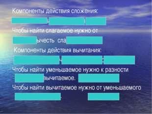 Компоненты действия сложения: слагаемое, слагаемое, сумма. Чтобы найти слага