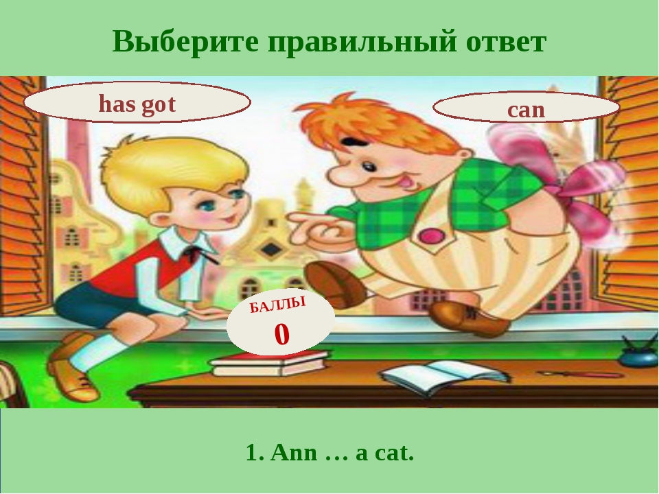 Выберите правильный ответ 1. Ann … a cat. has got can БАЛЛЫ 0
