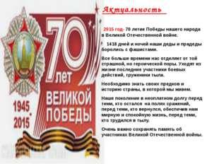 Актуальность 2015 год- 70 летие Победы нашего народа в Великой Отечественной