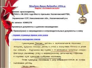 Шендрик Архип Андреевич1904г.р. Медаль «За боевые заслуги» Звание: красноа
