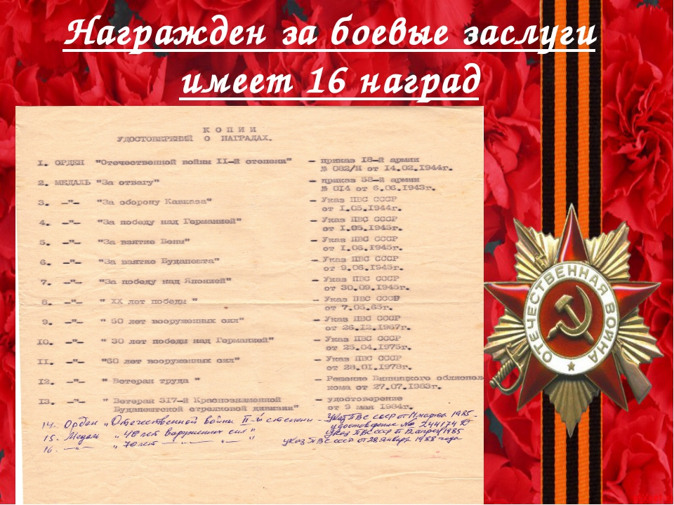 Награжден за боевые заслуги имеет 16 наград