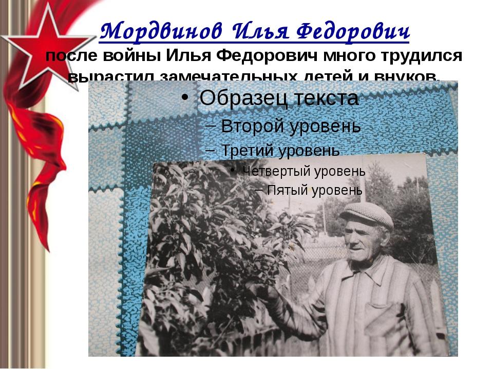 Мордвинов Илья Федорович после войны Илья Федорович много трудился вырастил з...
